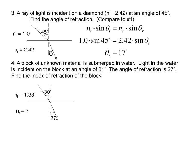 3. A ray of light is incident on a diamond (n = 2.42) at an angle of 45
