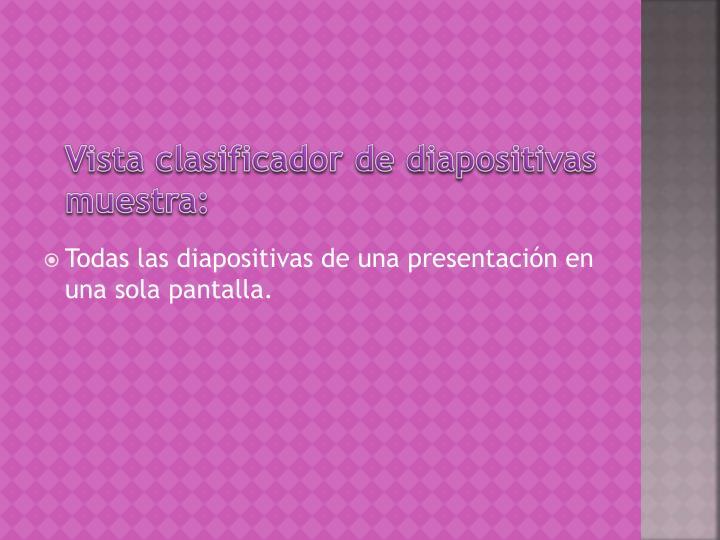Vista clasificador de diapositivas muestra: