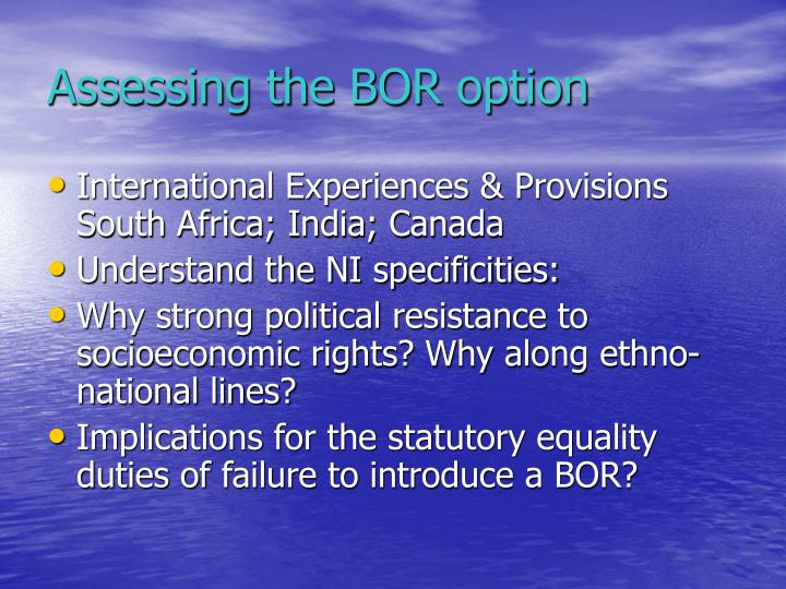Assessing the BOR option