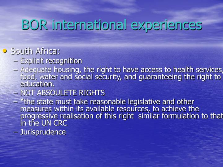 BOR international experiences