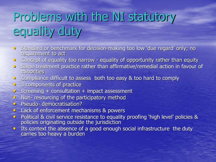 Problems with the NI statutory equality duty