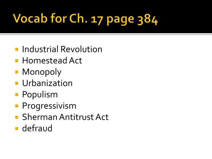Vocab for ch 17 page 384