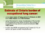 estimate of ontario burden of occupational lung cancer