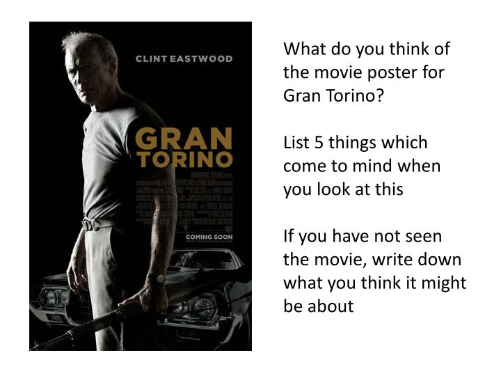 What do you think of the movie poster for Gran Torino?