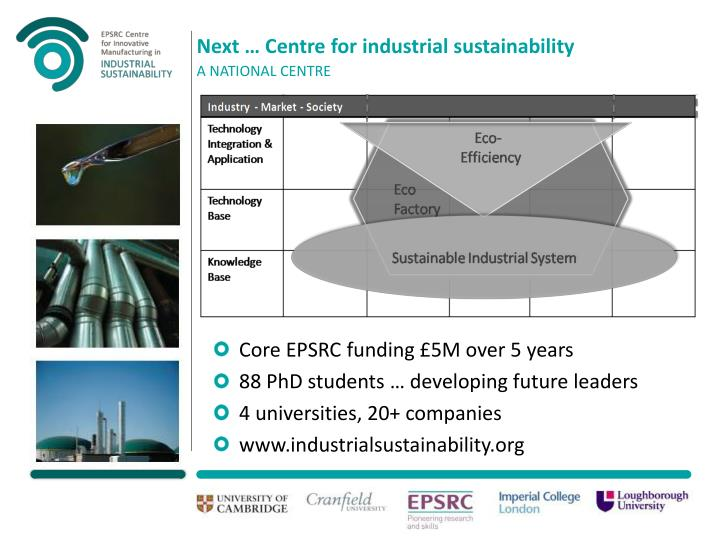Next … Centre for industrial sustainability