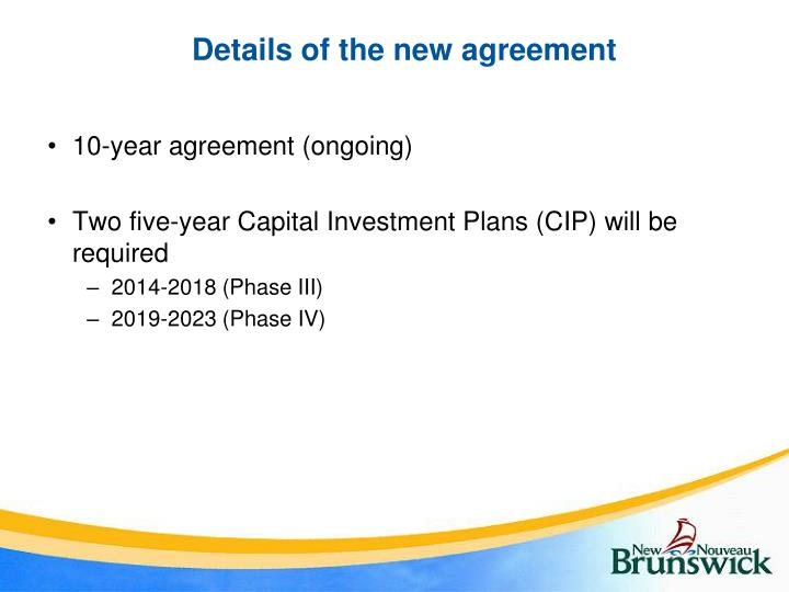 Details of the new agreement