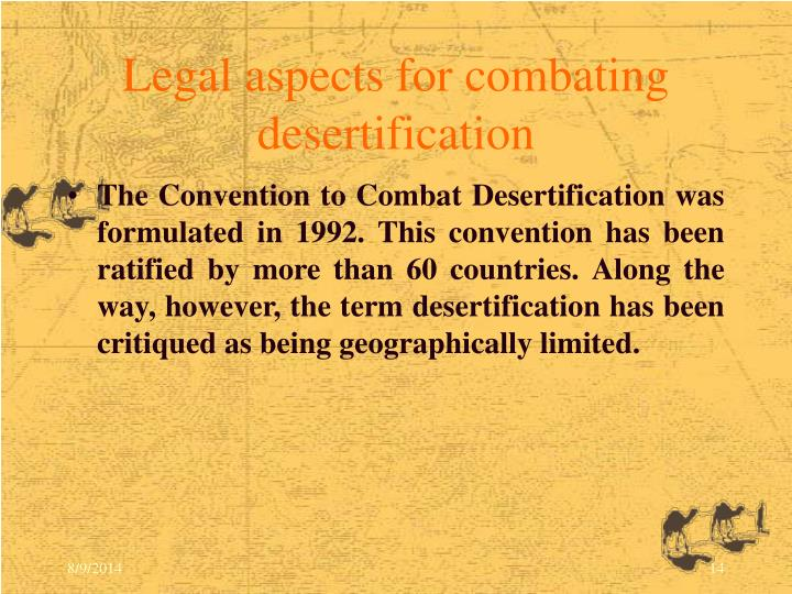 Legal aspects for combating desertification