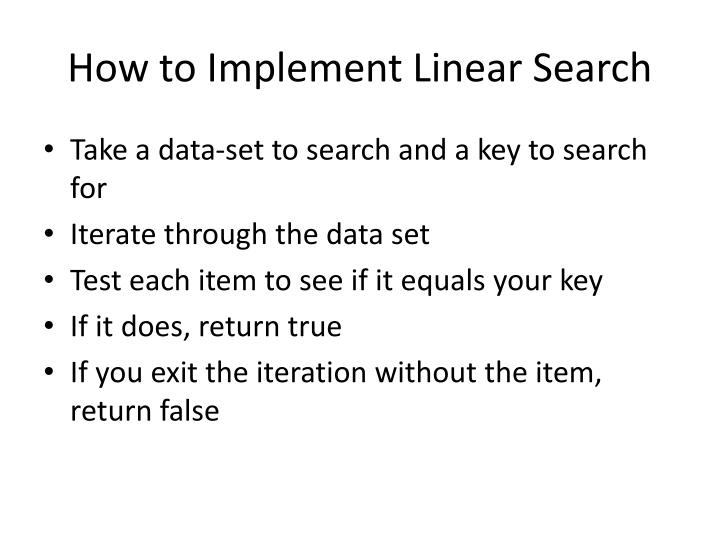 How to Implement Linear Search