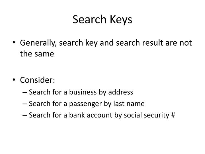 Search Keys