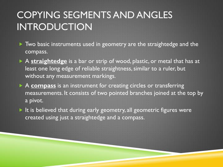 Copying Segments and Angles