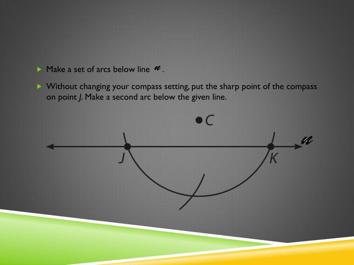 Make a set of arcs below line