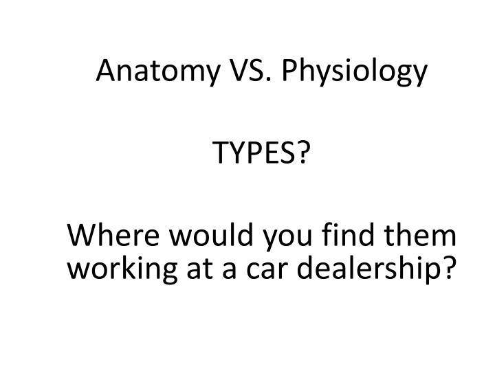 Anatomy vs physiology types where would you find them working at a car dealership