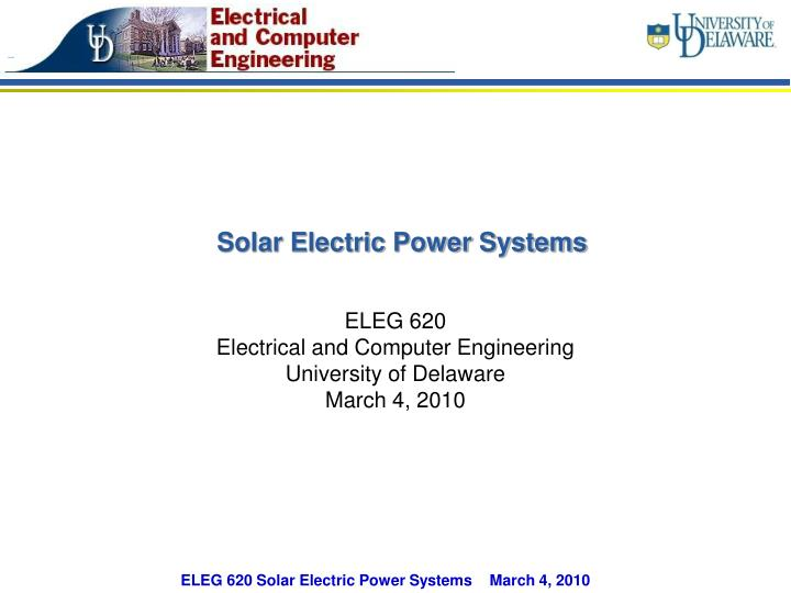 Solar Electric Power Systems