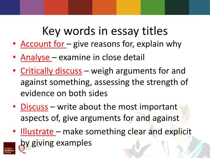 Key words in essay titles