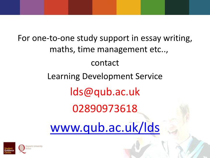 For one-to-one study support in essay writing,