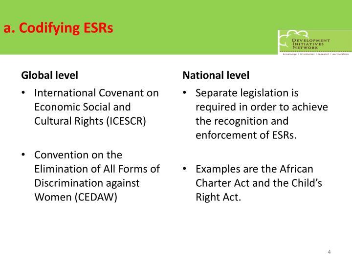a. Codifying ESRs