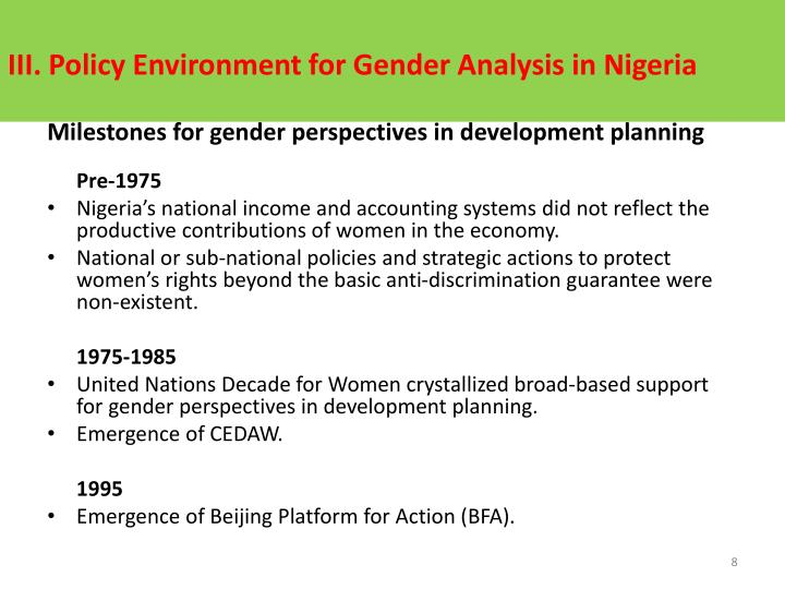 III. Policy Environment for Gender Analysis in Nigeria