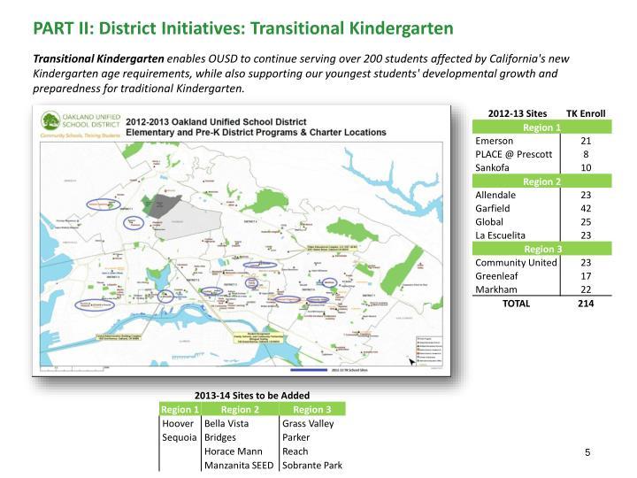 PART II: District Initiatives: Transitional Kindergarten