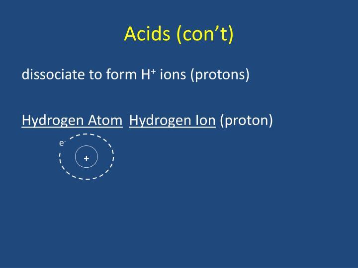 Acids (con't)