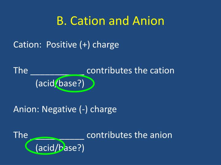 B. Cation and Anion
