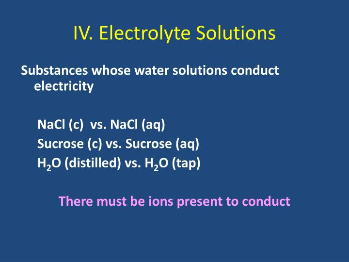 IV. Electrolyte Solutions