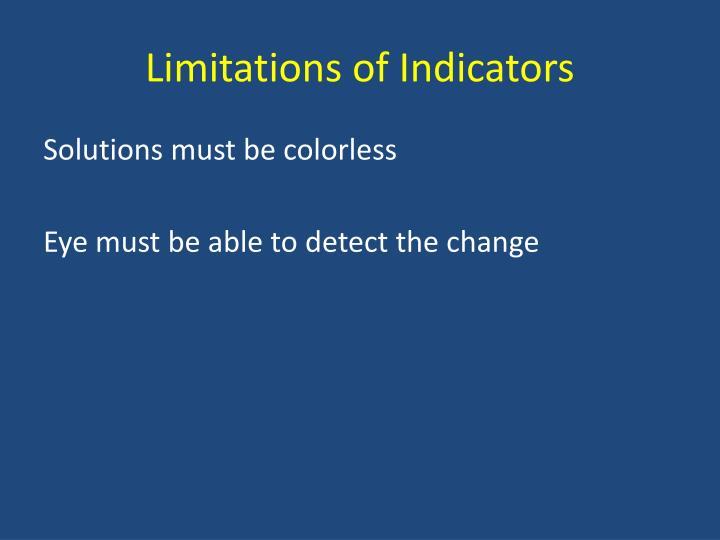 Limitations of Indicators