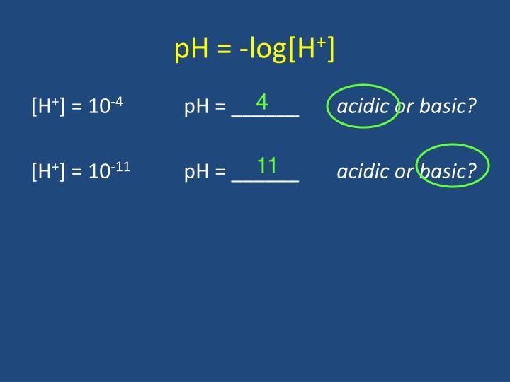 pH = -log[H