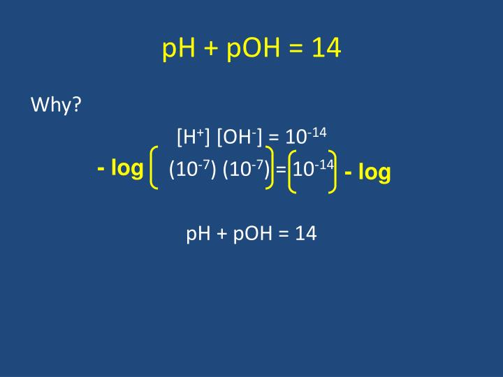 pH + pOH = 14