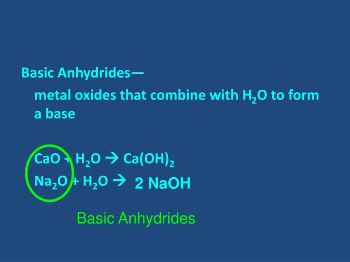Basic Anhydrides—