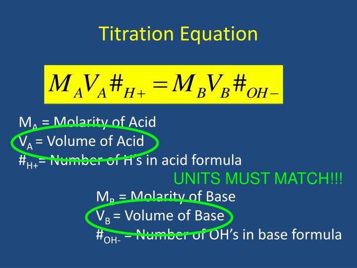 Titration Equation