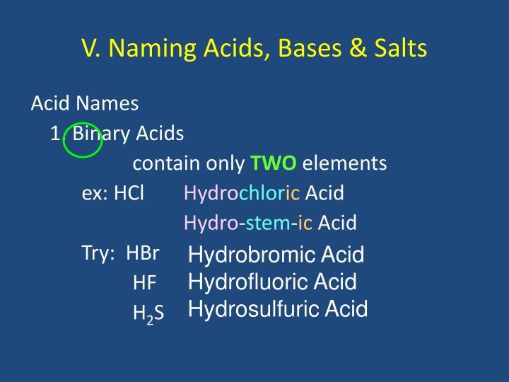 V. Naming Acids, Bases & Salts