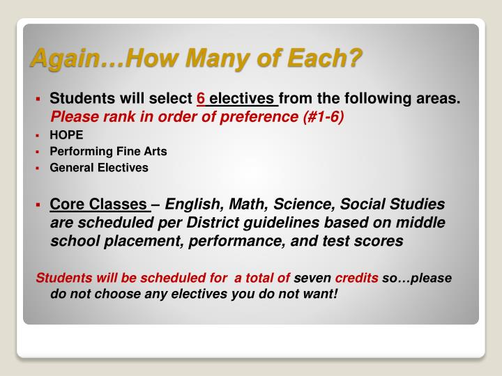 Students will select