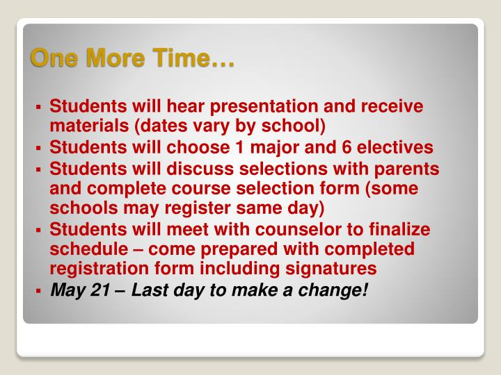 Students will hear presentation and receive materials (dates vary by school)