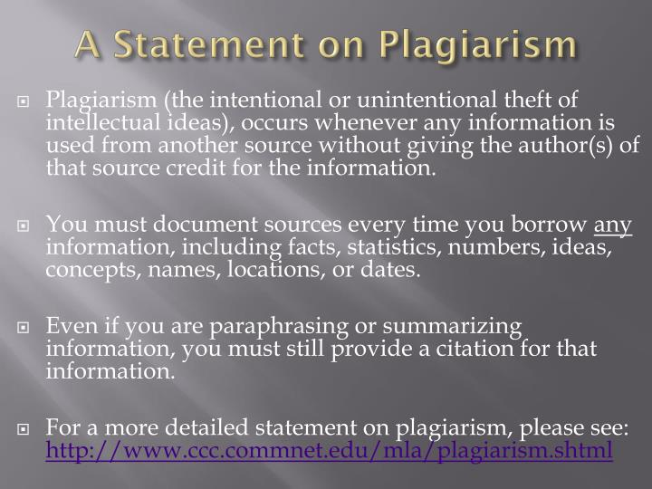 A statement on plagiarism