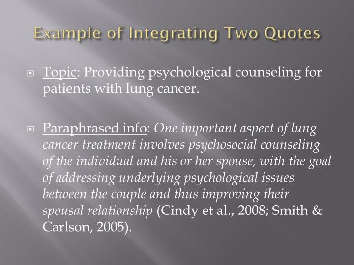 Example of Integrating Two Quotes