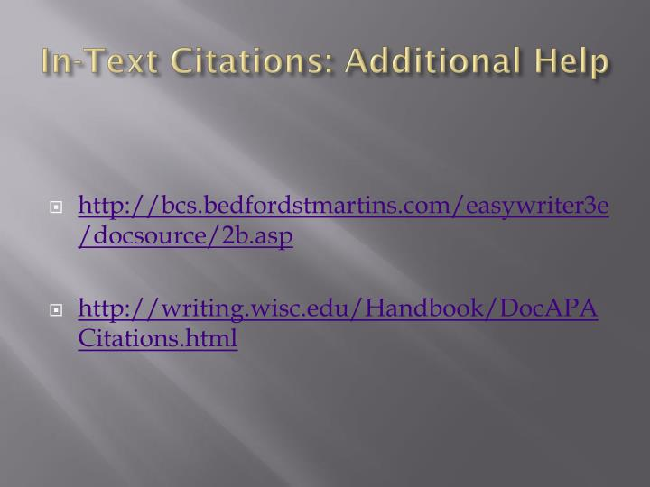 In-Text Citations: Additional Help
