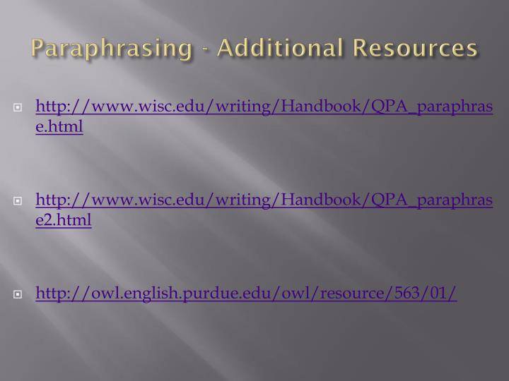 Paraphrasing - Additional Resources