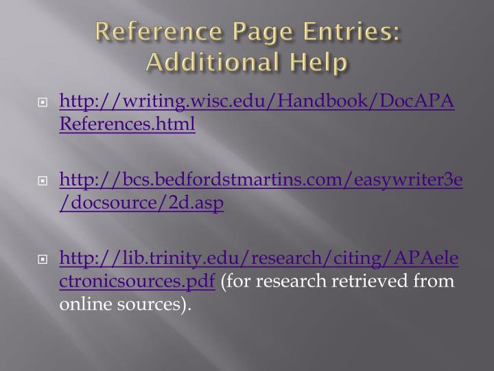 Reference Page Entries: Additional Help