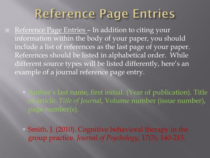 Reference Page Entries
