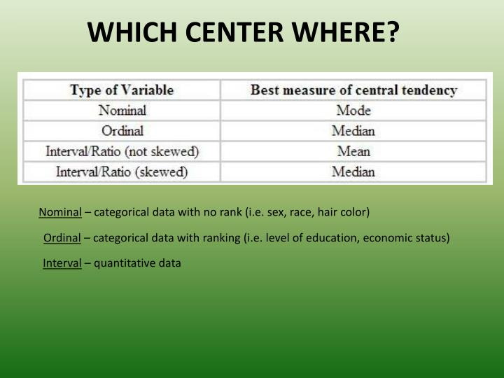 WHICH CENTER WHERE?