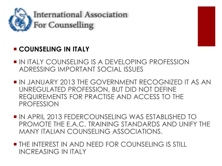COUNSELING IN ITALY