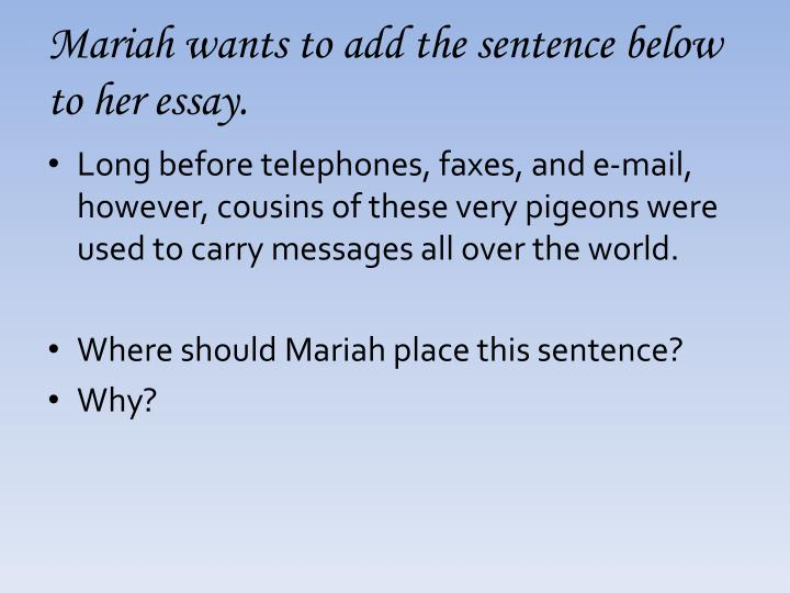 Mariah wants to add the sentence below to her essay.