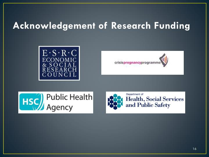 Acknowledgement of Research Funding