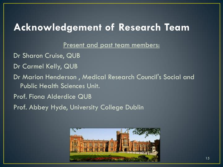 Acknowledgement of Research Team