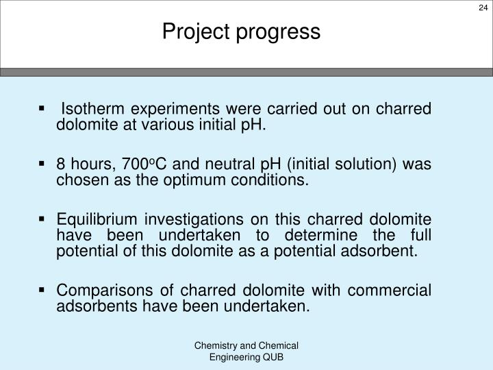 Isotherm experiments were carried out on charred dolomite at various initial pH.