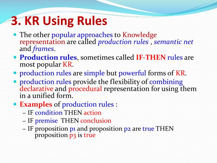 3. KR Using Rules