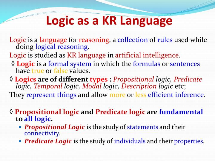 Logic as a KR Language