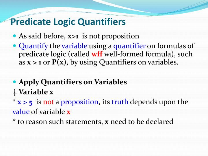 Predicate Logic Quantifiers
