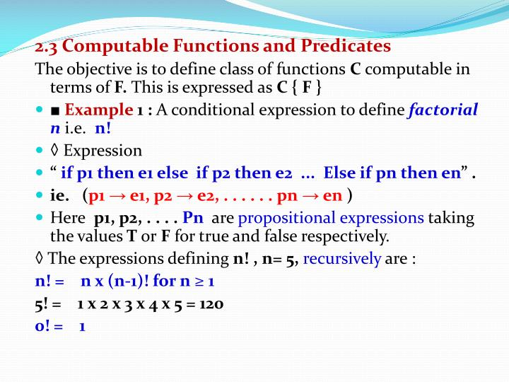 2.3 Computable Functions and Predicates