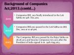 background of companies act 2013 contd